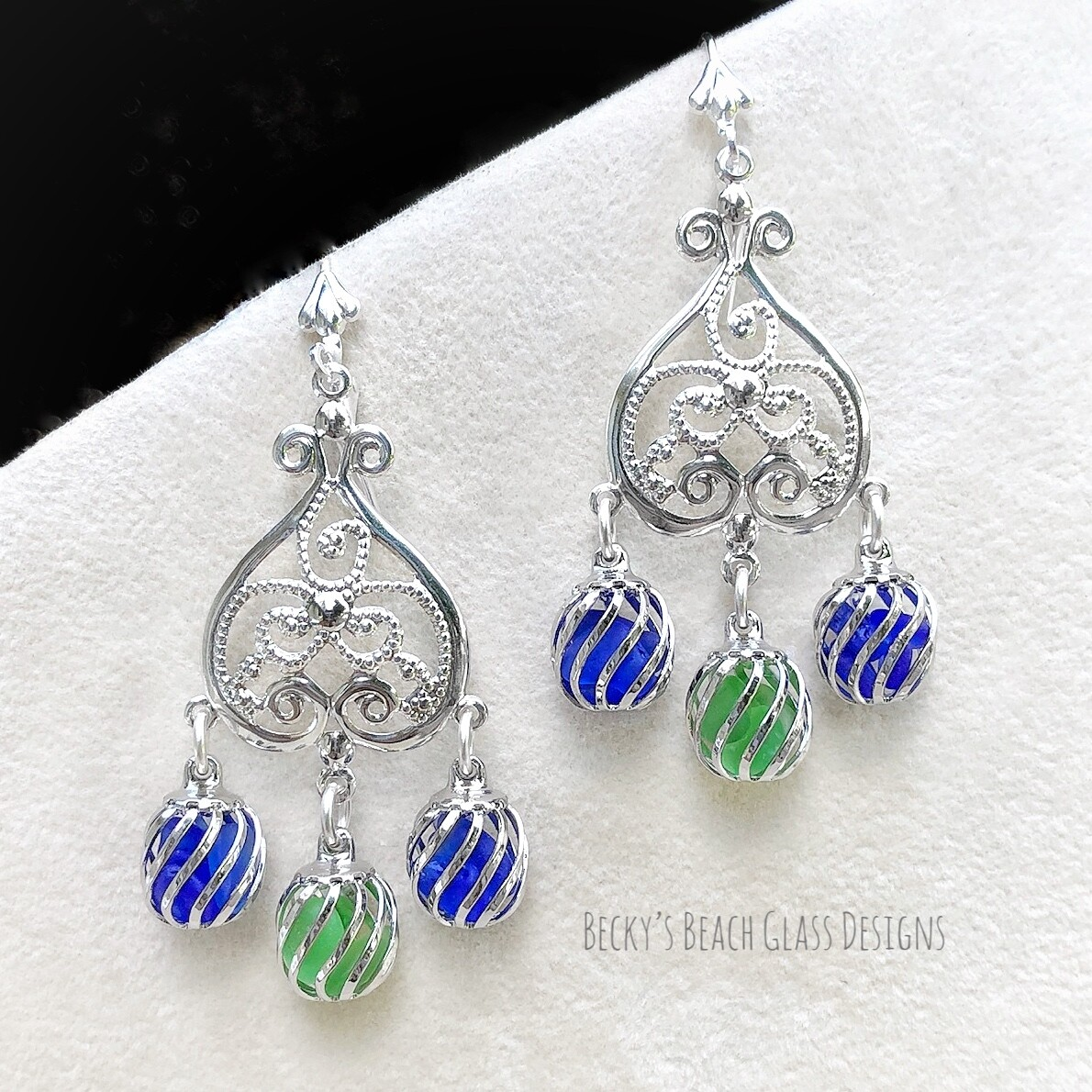 Multi Color Caged Sea Glass Earrings