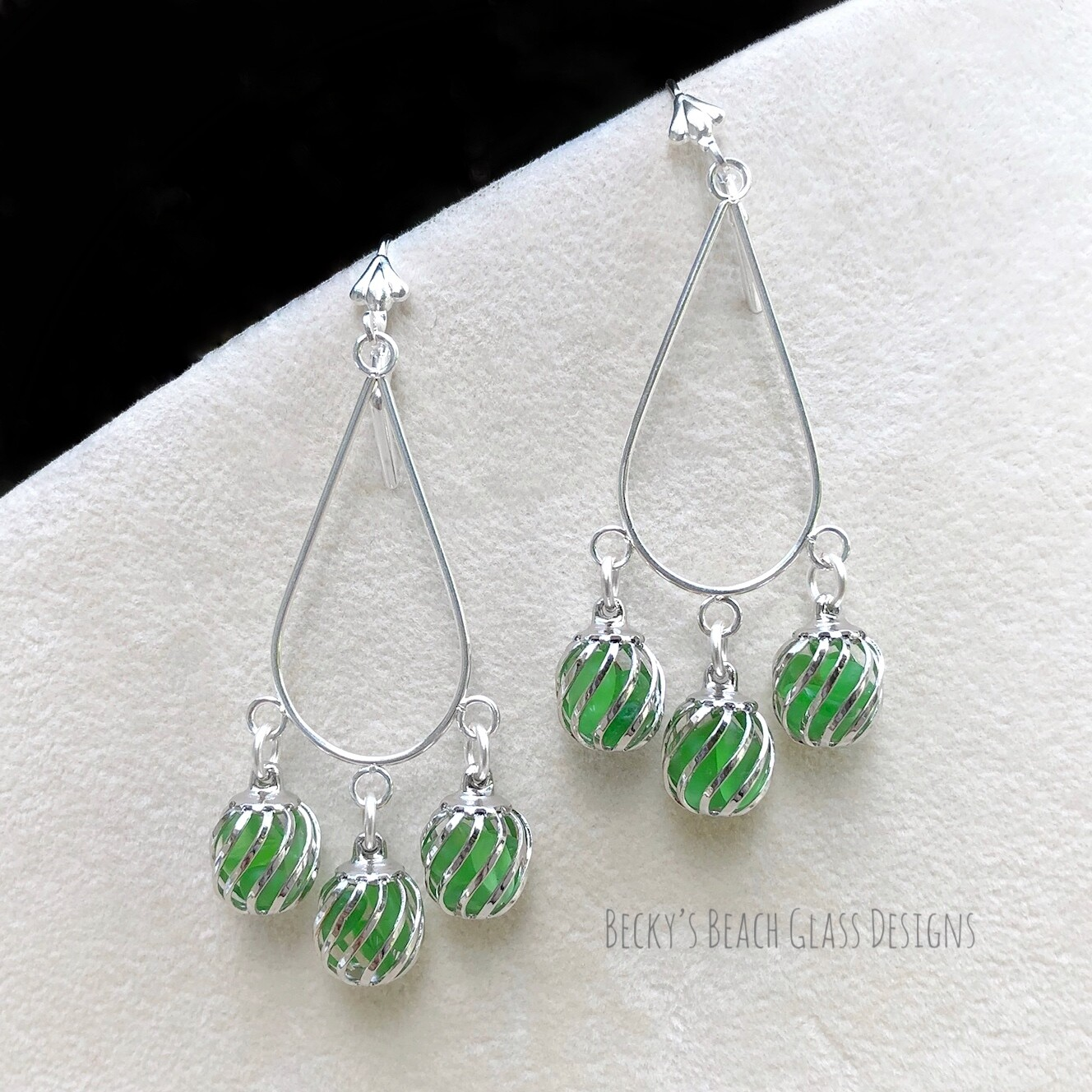 Kelly Green Caged Sea Glass Earrings