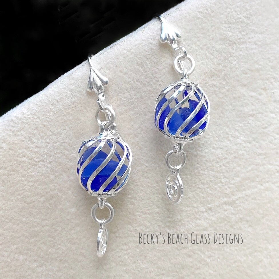Cobalt Caged Sea Glass Earrings