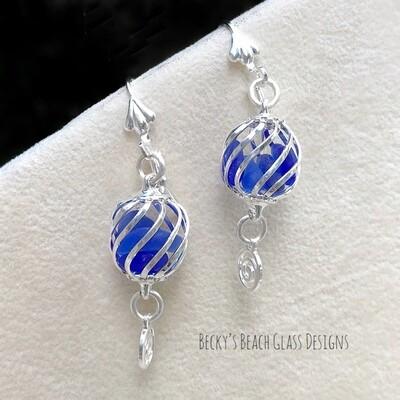 Cobalt Caged Sea Glass Earrings