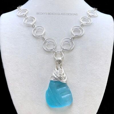 Gorgeous Bright Aqua Sea Glass Necklace