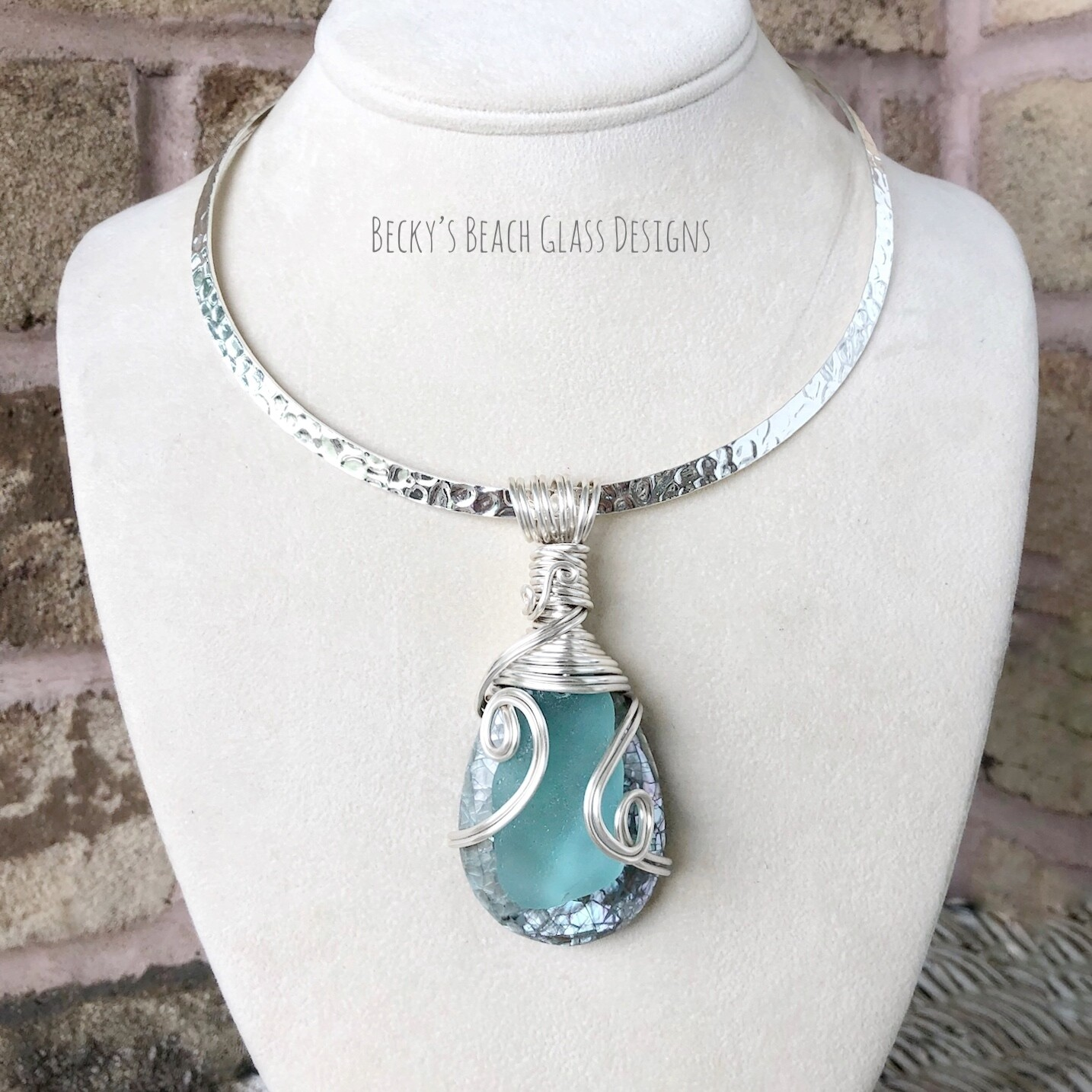 Sea Glass & Crackle Shell Necklace