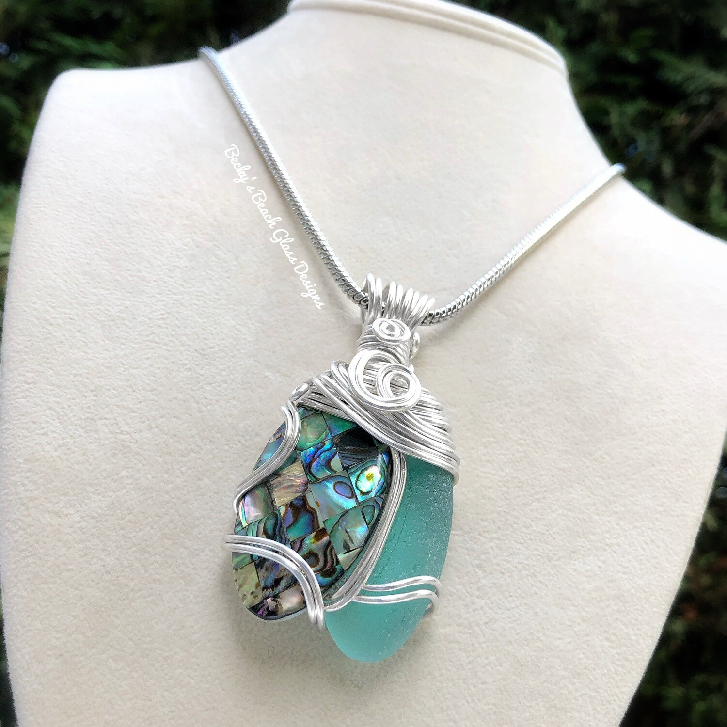 ***reserved for Jennifer***Sea Glass & Abalone Shell Necklace