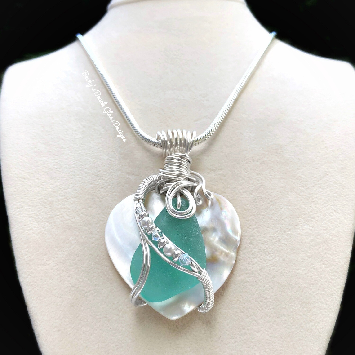 For Georgina.....Sea Glass & Mother-of-pearl Heart Shaped Shell Necklace