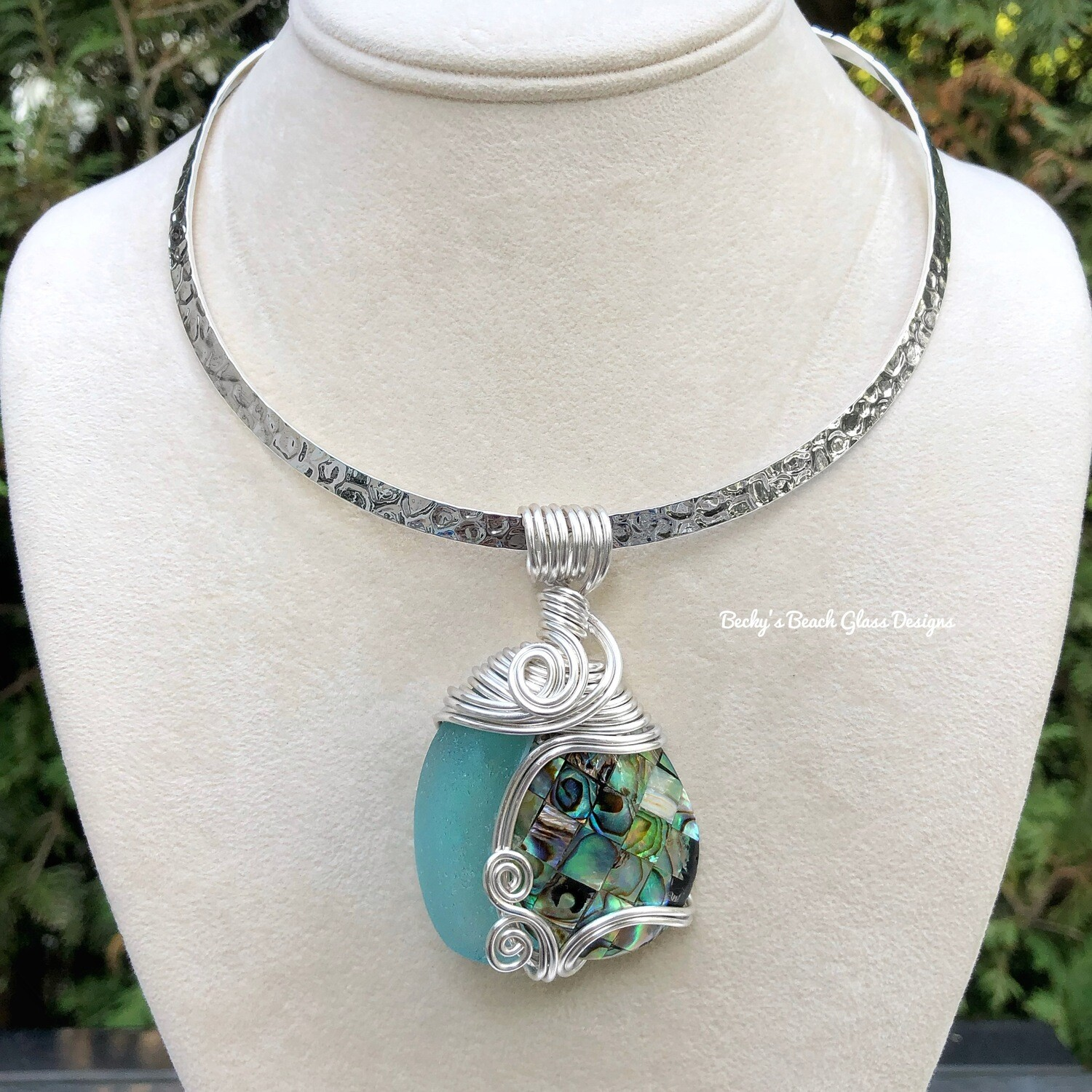 ***reserved forJackie***Sea Glass & Abalone Shell Necklace