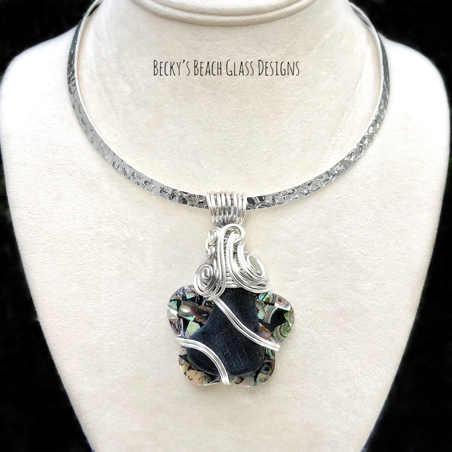 Sea Glass & Abalone Shell Necklace