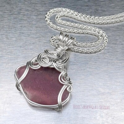 Purple Plum Sea Glass Necklace