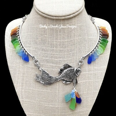 """Rainbow Fish"" Sea Glass Necklace"