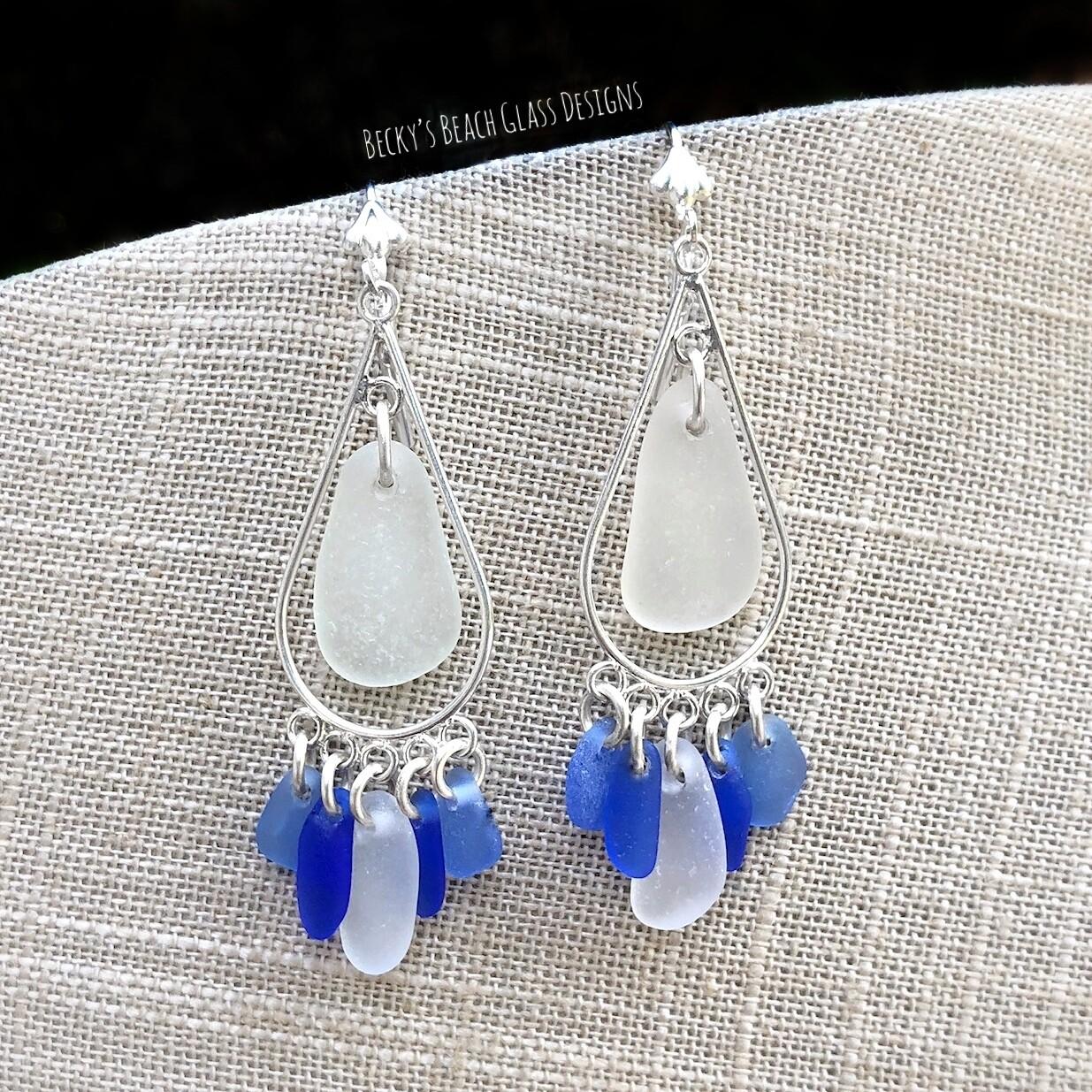 Cobalt, Cornflower, & White Sea Glass Earrings