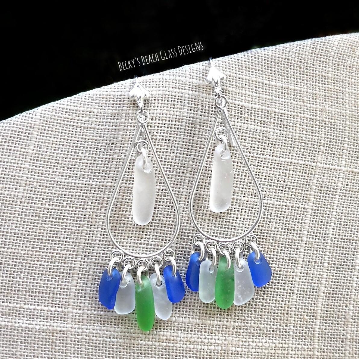 Cobalt, Kelly Green, and White Sea Glass Earrings