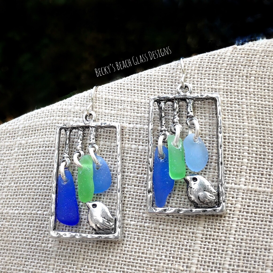 Little Bird Sea Glass Wind Chime Earrings