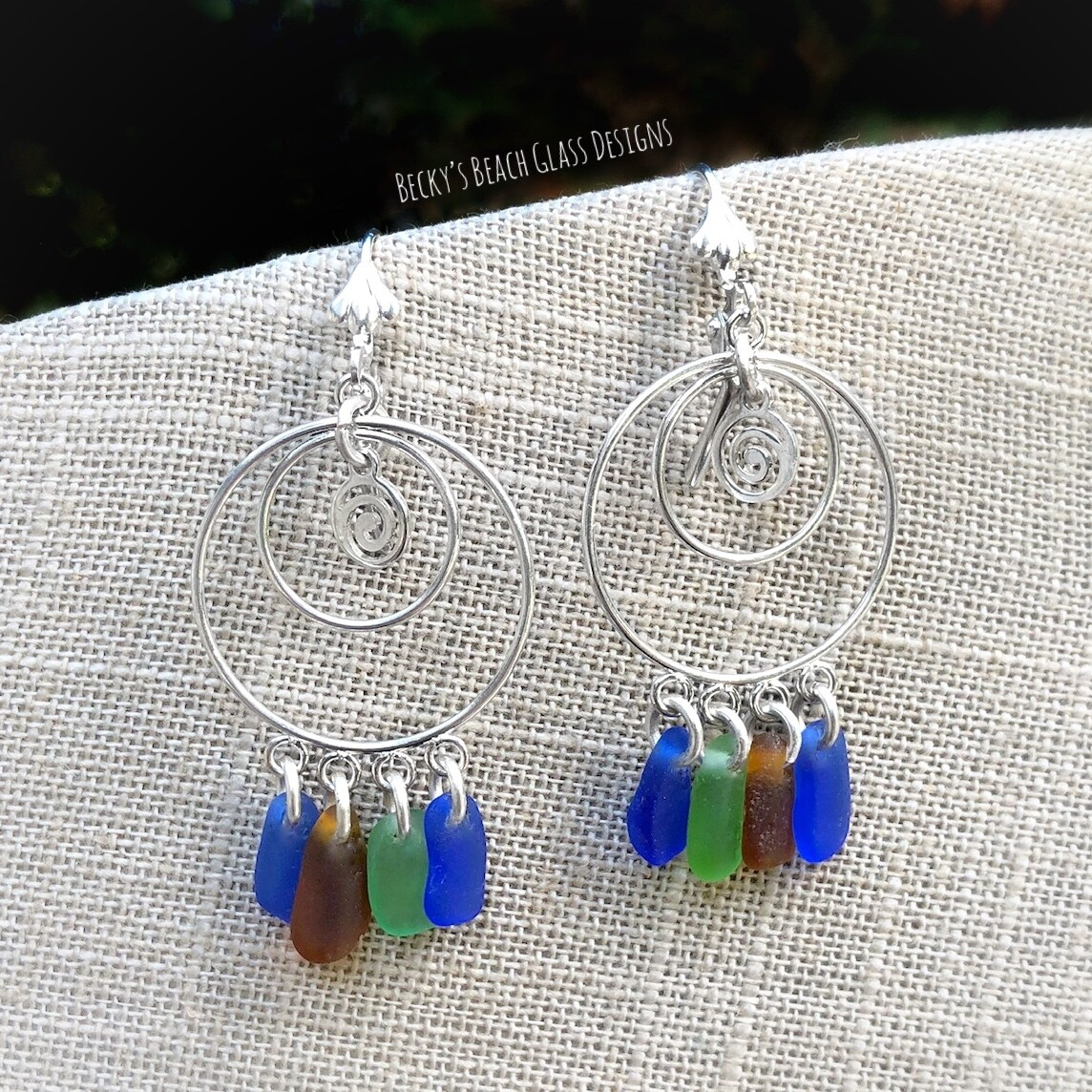Multi Color Sea Glass Earrings