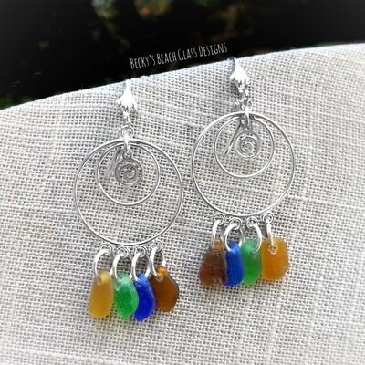 Multi Color Sea Glass Earrings