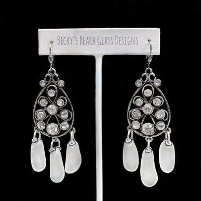 Gorgeous Crystal & Sea Glass Chandelier Earrings