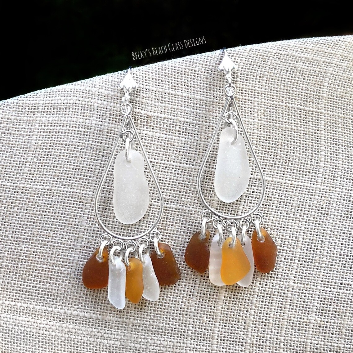 Amber, Brown, & White Sea Glass Earrings