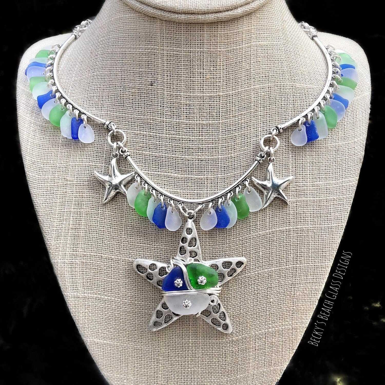 """Mermaid Queen"" Sea Glass Starfish Necklace"