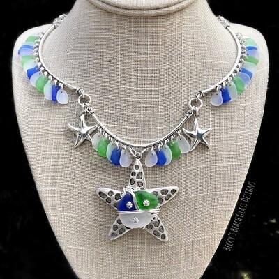 """Mermaid Queen"" Sea Glass Starfish Necklace"