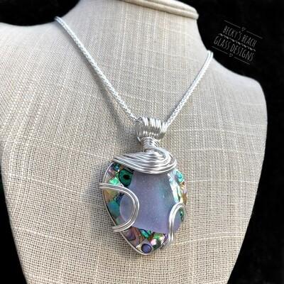 Amethyst/Purple Neodymium Sea Glass & Abalone Mosaic Shell Necklace