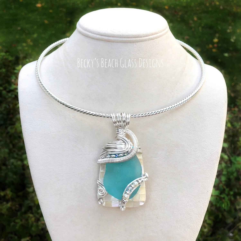 Sea Glass & MOP Mosaic Shell Necklace