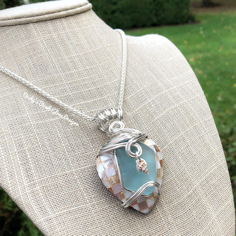 Sea Glass & Mosaic Shell Heart Necklace