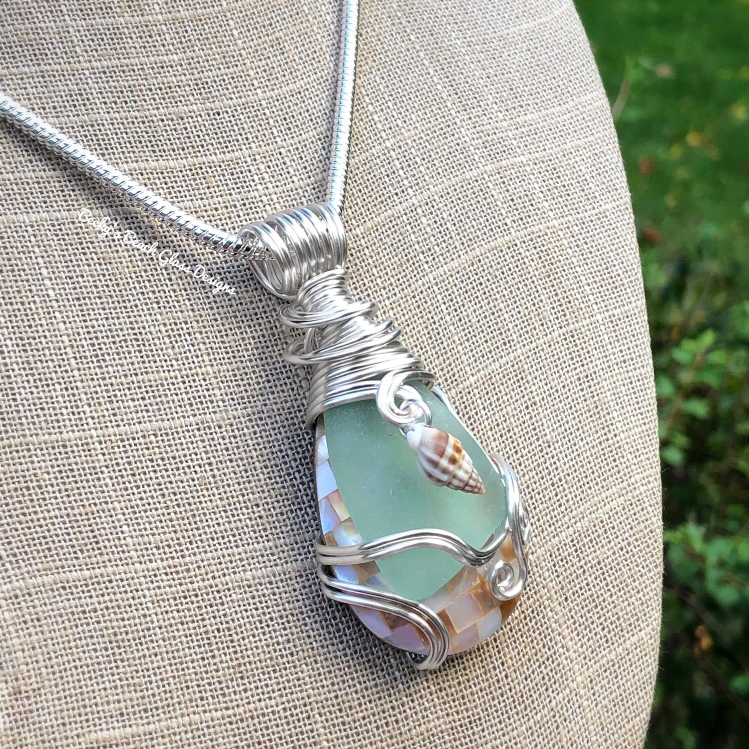 Sea Glass & Mosaic Shell Necklace