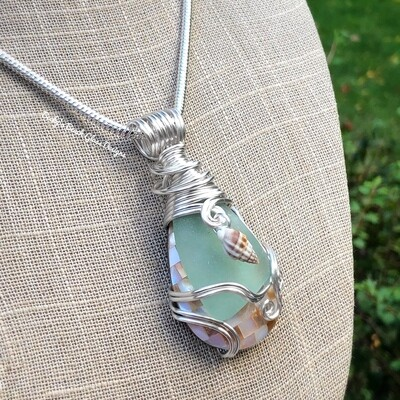 Sea Glass & Mosaic Shell Necklace