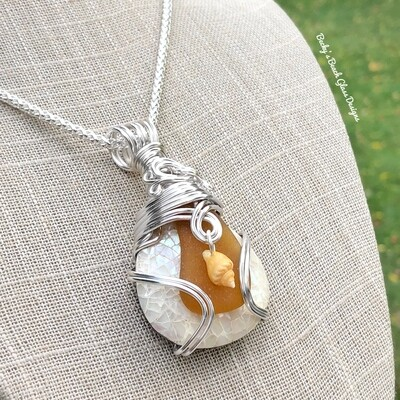 Sea Glass & MOP Crackle Shell Necklace