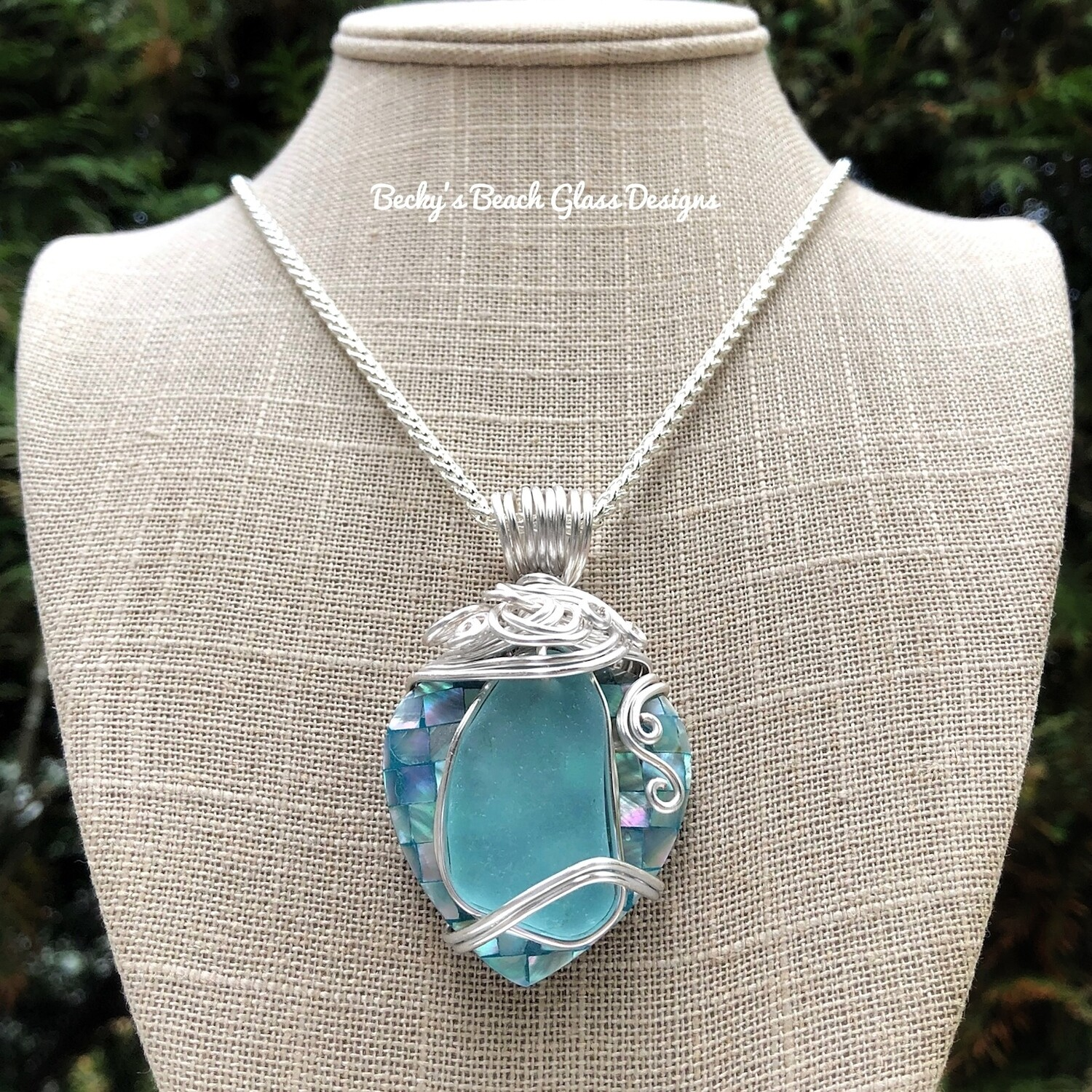 Sea Glass & Heart Shaped Mosaic Shell Necklace
