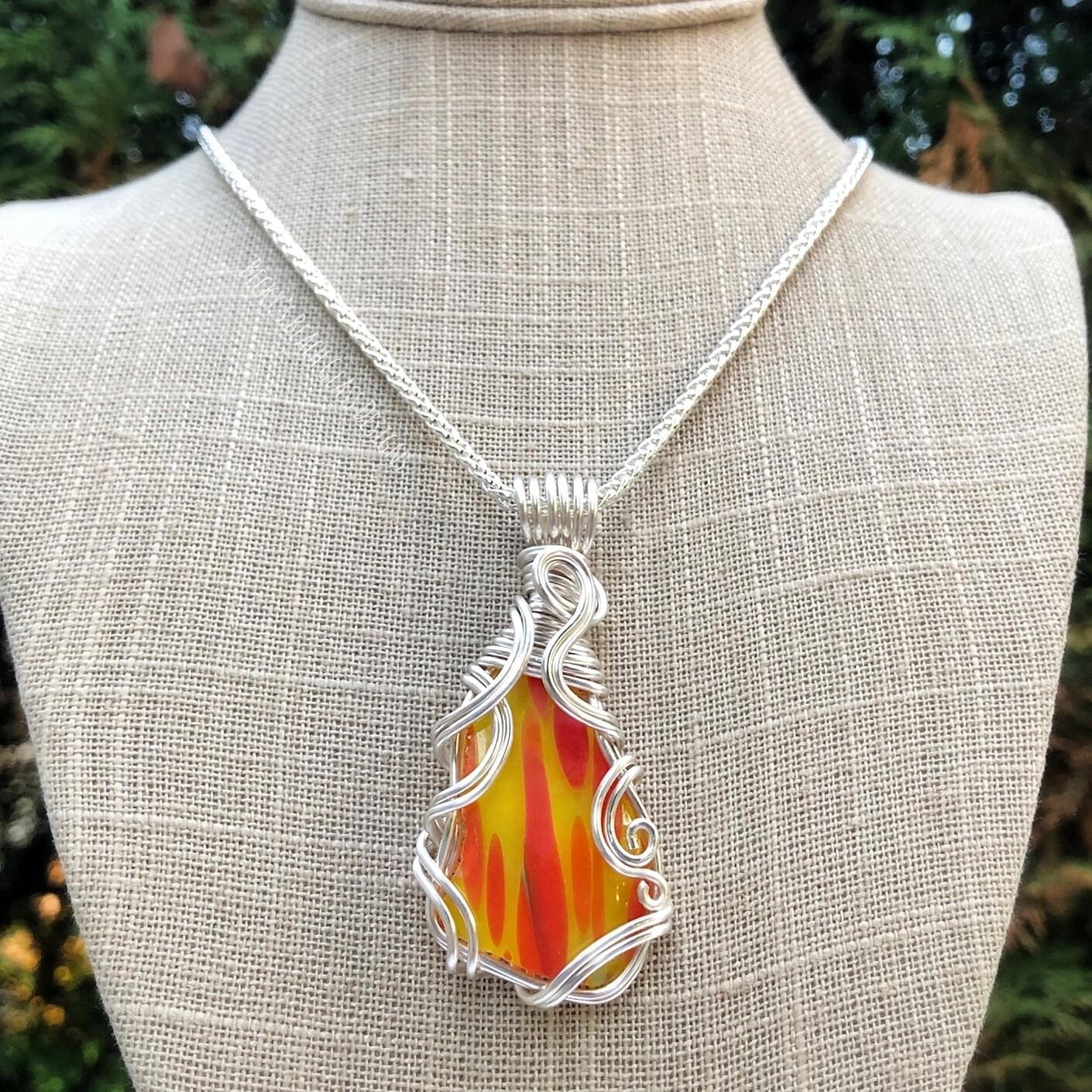 Multicolored English Art Glass/ Art Glass Necklace