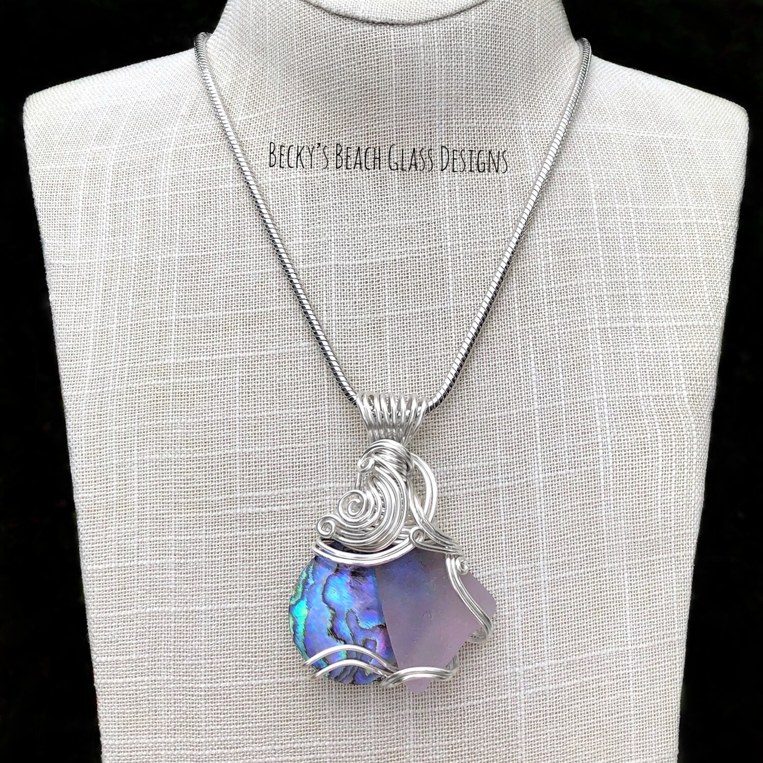 Lavender Sea Glass & Abalone Shell Necklace