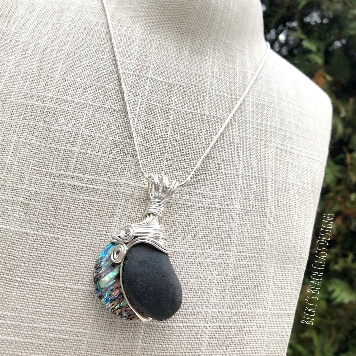 Black Sea Glass & Abalone Shell Necklace