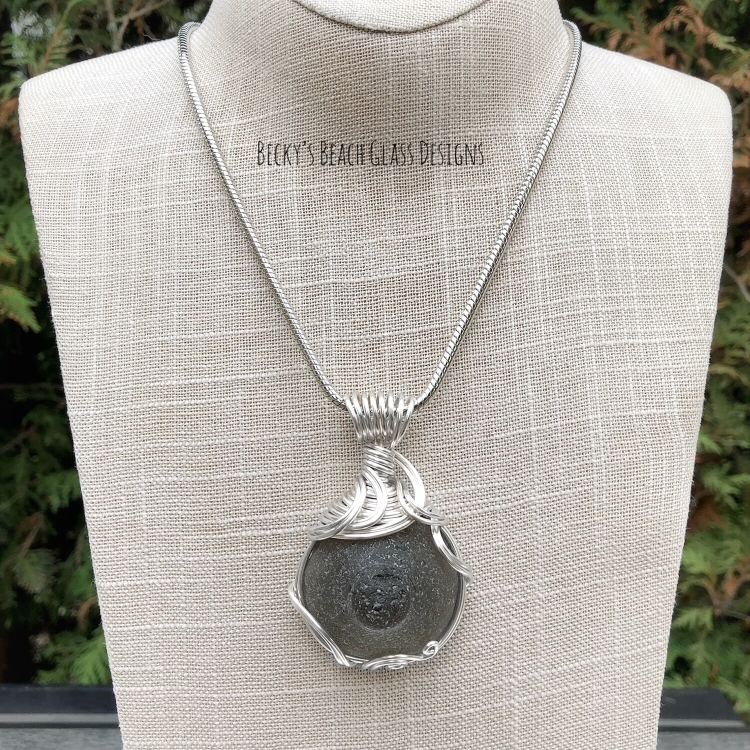 RARE Deep Gray Mermaid's Nipple Sea Glass Necklace
