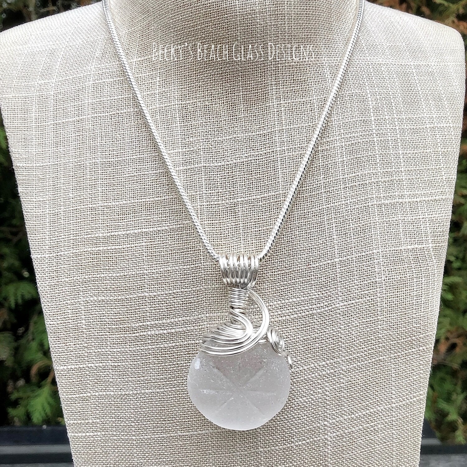 Pure White Patterned Sea Glass Necklace