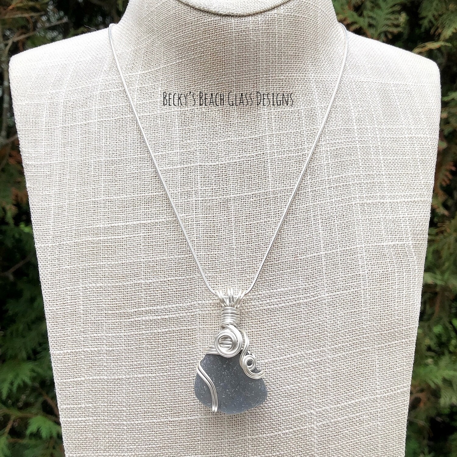 Deep Gray Sea Glass Necklace