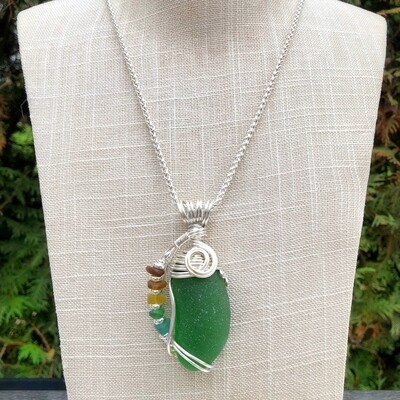 Green Fall Colors Statement Sea Glass Necklace