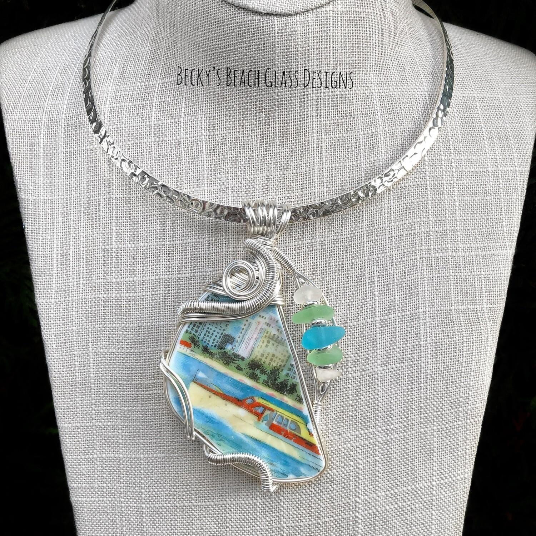 """Cruising the Harbor"" Sea Glass & Pottery Pendant Necklace"