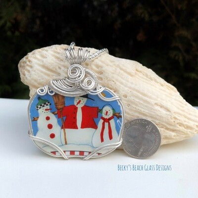 Whimsical Winter-y Pottery Necklace