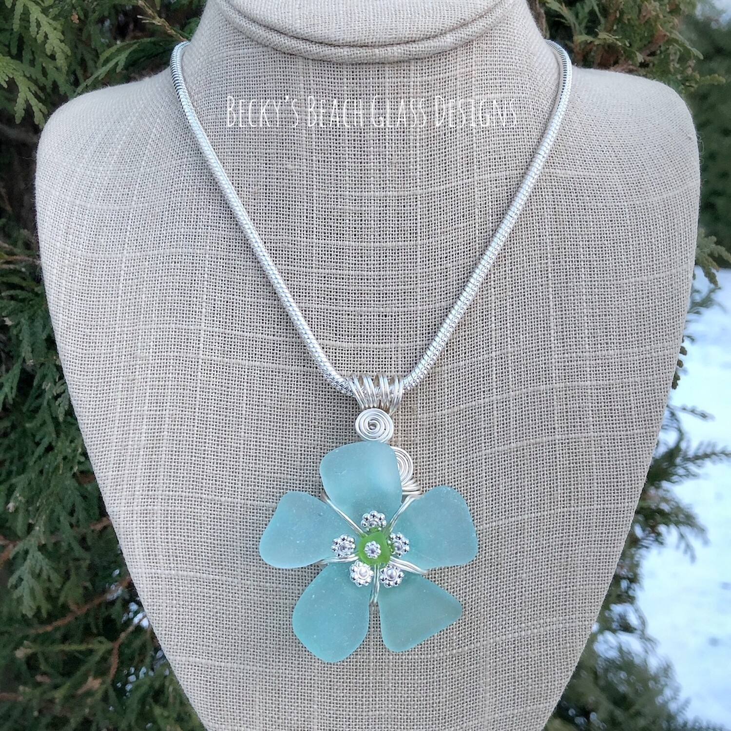 Russian Sea Glass Flower Pendant Necklace w/Lime Green Center