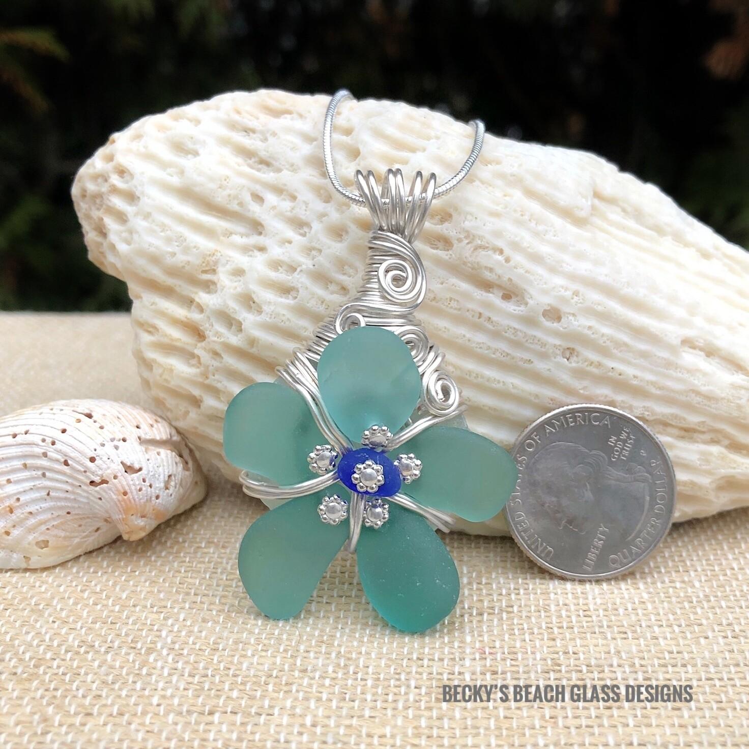 Russian Sea Glass Flower Pendant Necklace w/Cobalt Center