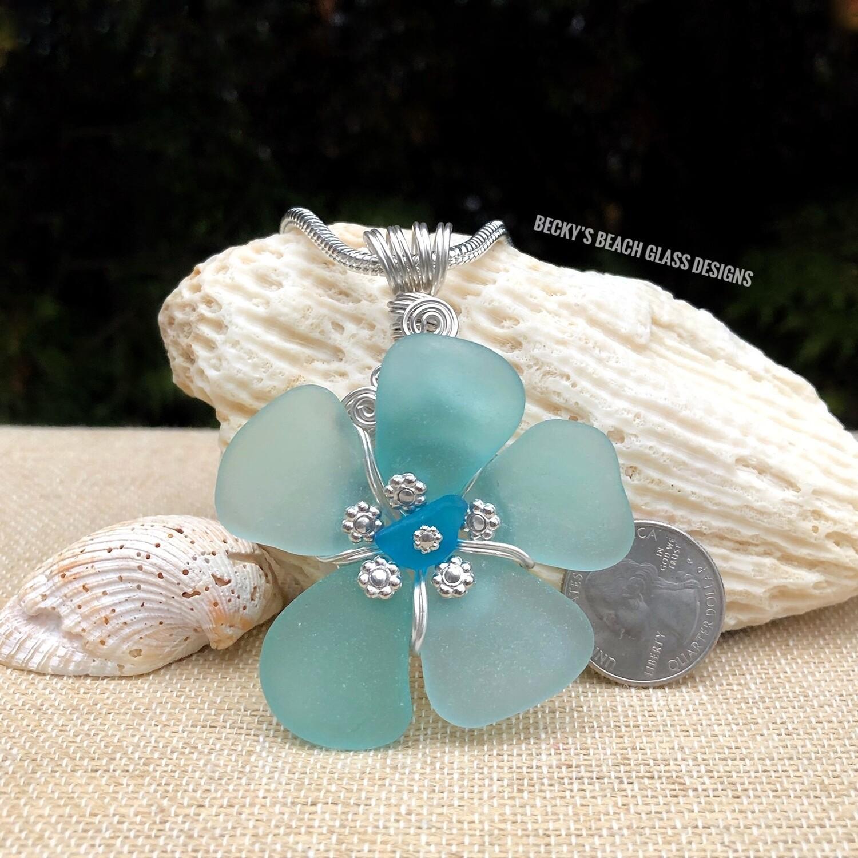 Russian Sea Glass Flower Pendant Necklace w/Electric Blue Center