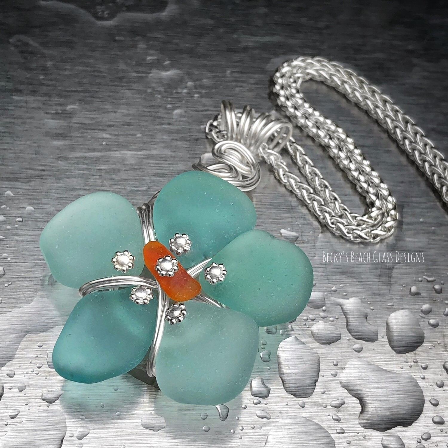 Russian Sea Glass Flower Pendant Necklace w/ Orange Center