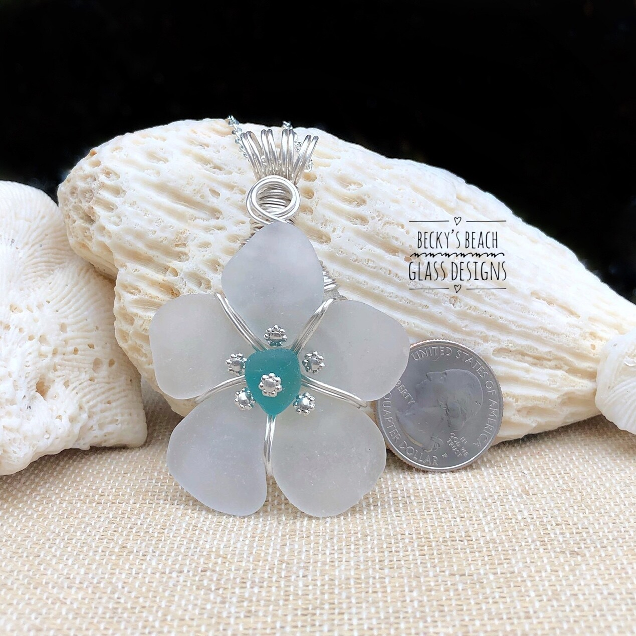 White w/Bright Teal Center Sea Glass Flower Pendant Necklace