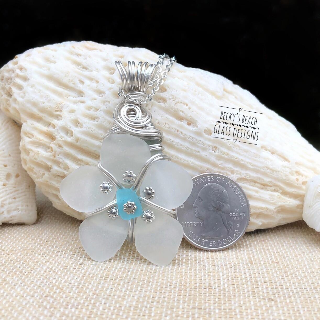 White w/Bright Aqua Center Sea Glass Flower Pendant Necklace