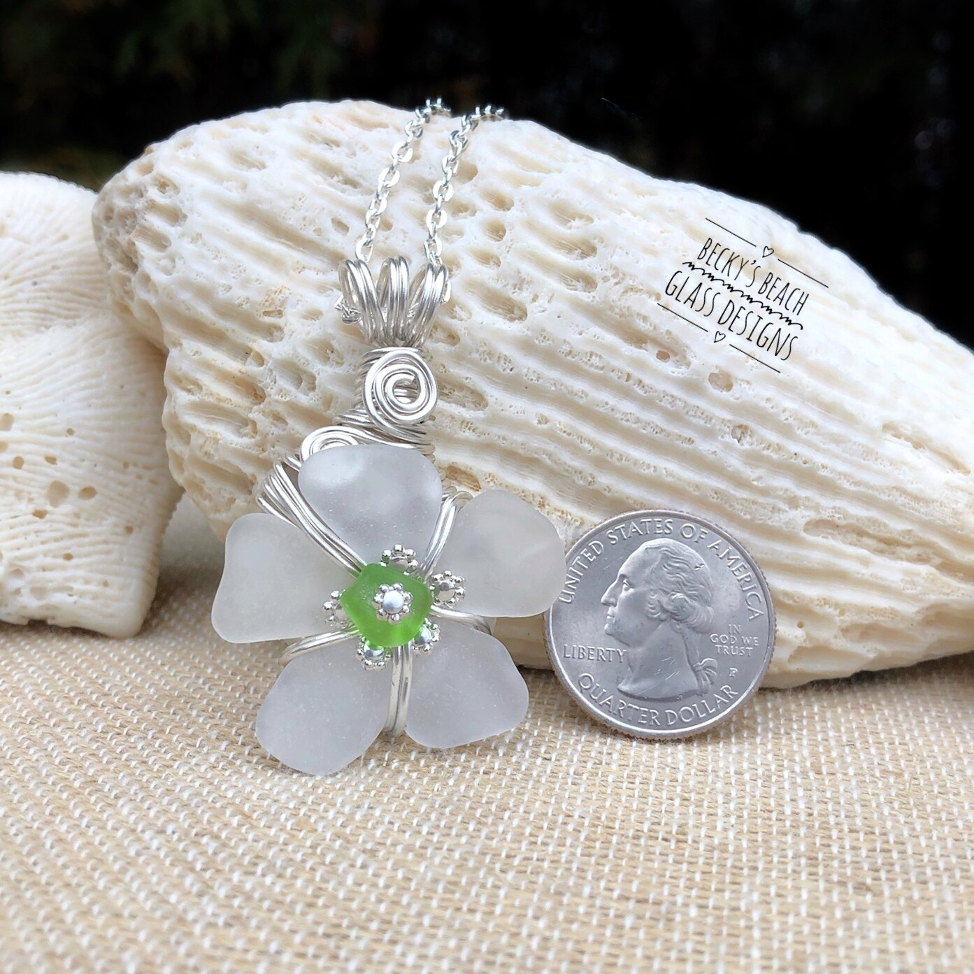 White w/Lime Center Sea Glass Flower Pendant Necklace