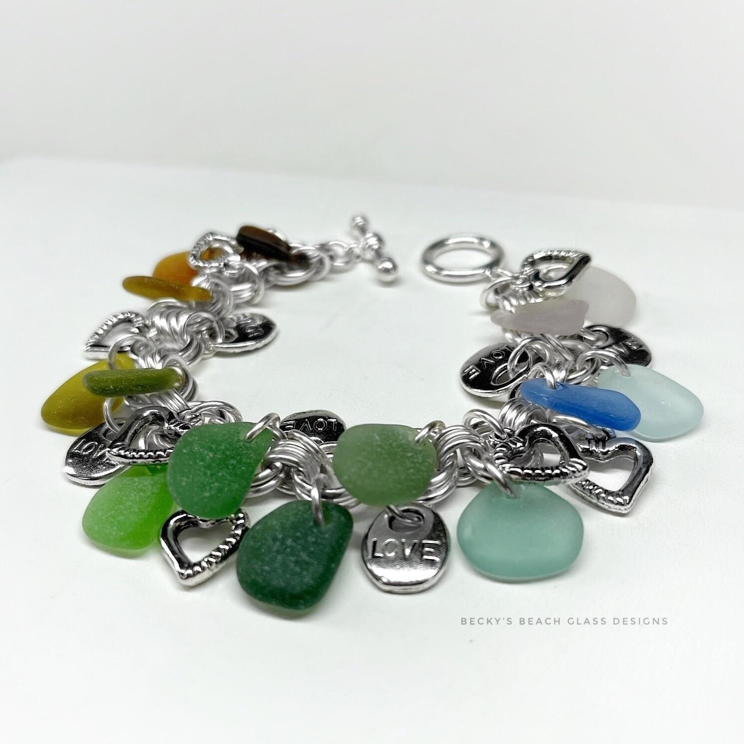 Seaglass & Sweet Hearts Cha Cha Bracelet