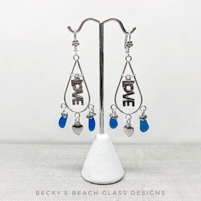 Sea Glass LOVE Earrings