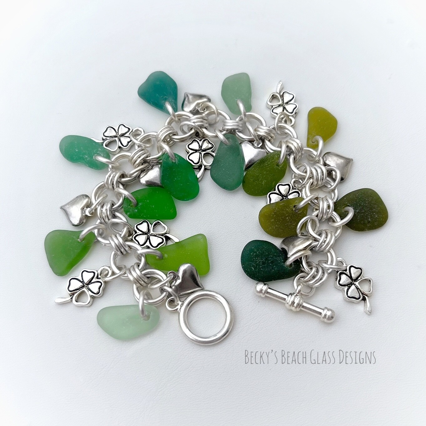 Seaglass Clover & Hearts Cha Cha Bracelet