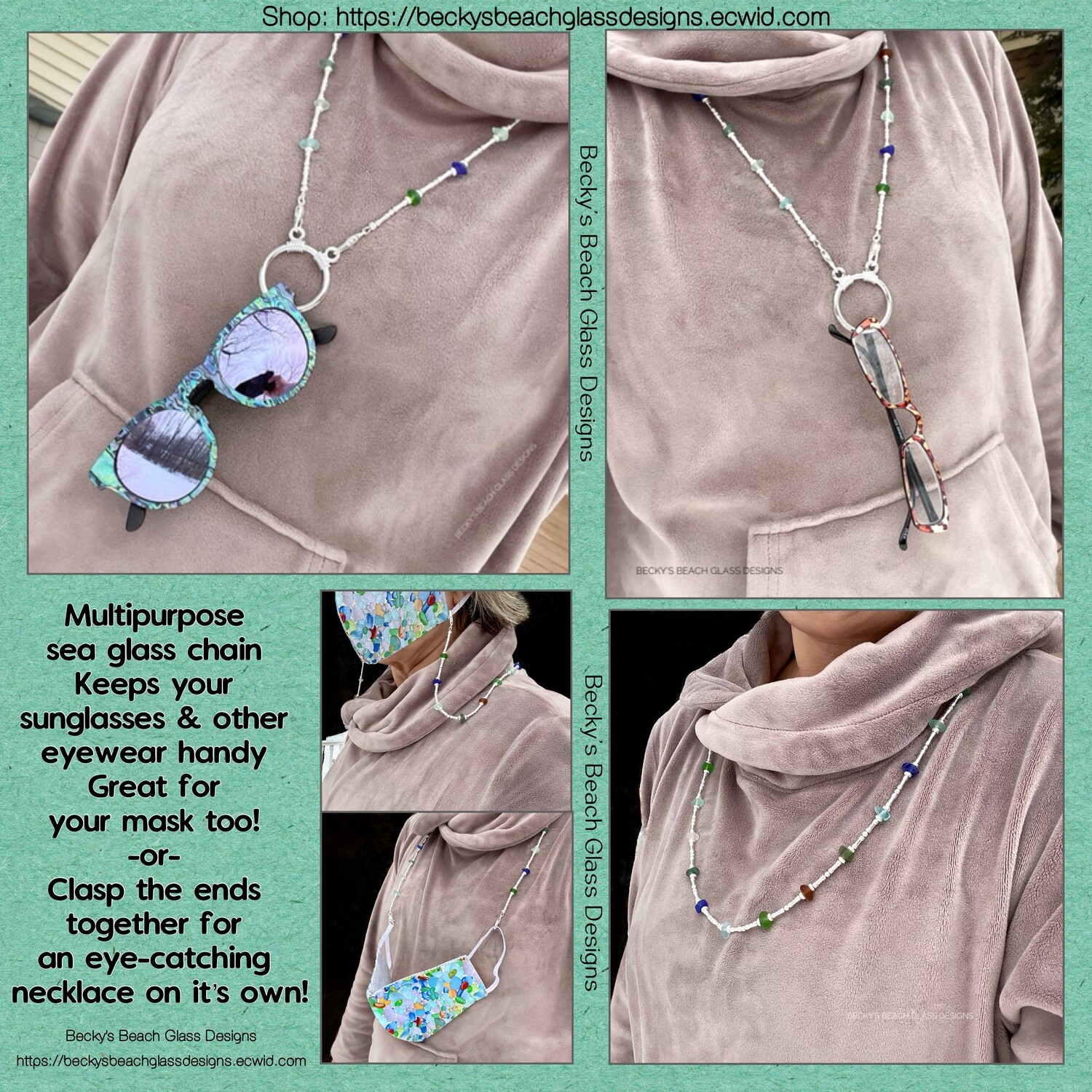 Versatile Multi-Purpose Sea Glass Chain