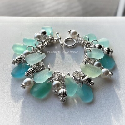 Seaglass & Pearl Cha Cha Bracelet