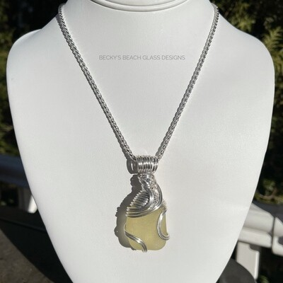 Chunky Yellow Sea Glass Necklace